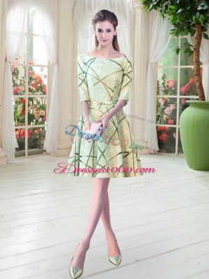Yellow Green A-line Scoop Half Sleeves Knee Length Lace Up Ruching Prom Dress