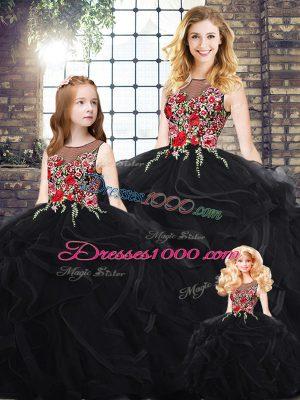 Ball Gowns Quinceanera Dresses Black Scoop Sleeveless Floor Length Zipper