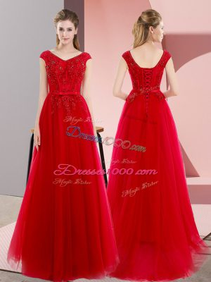 Cheap V-neck Short Sleeves Prom Evening Gown Floor Length Sweep Train Beading and Lace Red Tulle