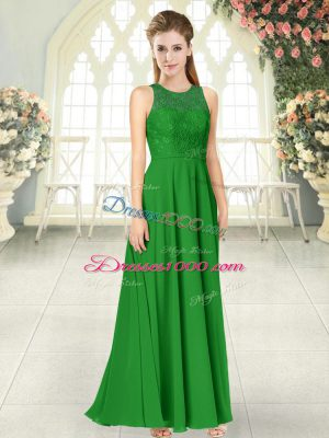 Floor Length Backless Prom Party Dress Green for Prom and Party with Lace