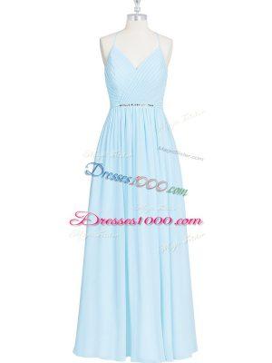 Luxury Light Blue Zipper Halter Top Ruching and Pleated Chiffon Sleeveless