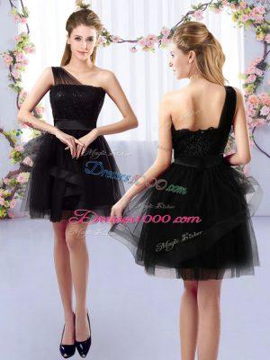 Gorgeous Lace Quinceanera Court Dresses Black Side Zipper Sleeveless Mini Length
