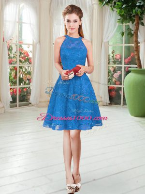 Free and Easy Blue Sleeveless Knee Length Lace Zipper Dress for Prom