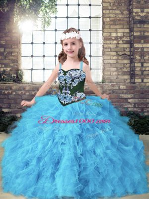 Baby Blue Straps Lace Up Embroidery and Ruffles Winning Pageant Gowns Sleeveless