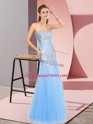 Pretty Sleeveless Zipper Floor Length Beading Homecoming Dress