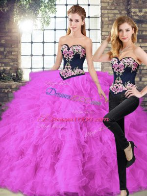 Fuchsia Sweetheart Neckline Beading and Embroidery 15 Quinceanera Dress Sleeveless Lace Up