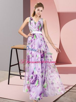 Multi-color Sleeveless Printed Zipper Prom Evening Gown for Prom and Party