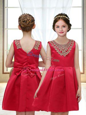 Affordable Satin Sleeveless Mini Length Toddler Flower Girl Dress and Appliques