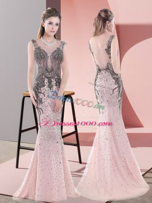 Pink Scoop Neckline Beading and Lace Sleeveless Side Zipper
