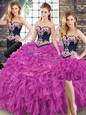 Suitable Organza Sweetheart Sleeveless Lace Up Embroidery and Ruffles Vestidos de Quinceanera in Fuchsia
