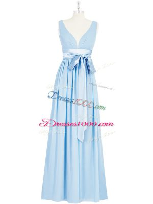 Unique Baby Blue Empire Ruching and Bowknot Backless Chiffon Sleeveless Floor Length