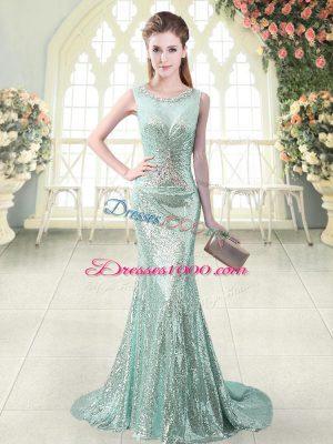 Inexpensive Apple Green Mermaid Beading Dress for Prom Zipper Sequined Sleeveless