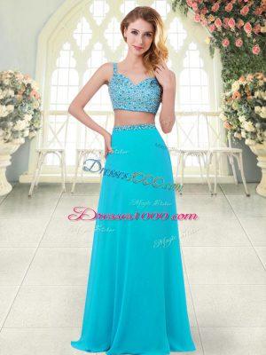 Aqua Blue Sleeveless Floor Length Beading Zipper Dress for Prom