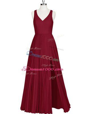 Superior A-line Prom Dress Wine Red V-neck Sleeveless Floor Length Zipper