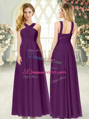 Fine Purple Empire Chiffon Straps Sleeveless Ruching Floor Length Zipper Homecoming Dress