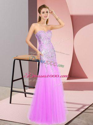 Smart Sleeveless Zipper Floor Length Beading Prom Evening Gown