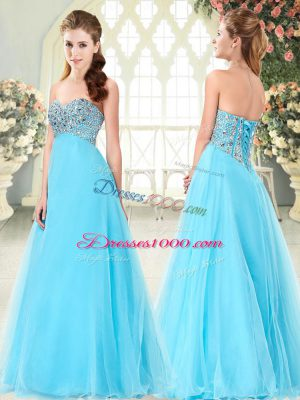 Hot Selling Floor Length Aqua Blue Prom Evening Gown Sweetheart Sleeveless Lace Up
