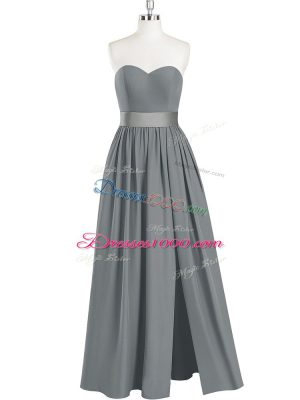 High Class Sleeveless Chiffon Floor Length Zipper Prom Dresses in Grey with Belt
