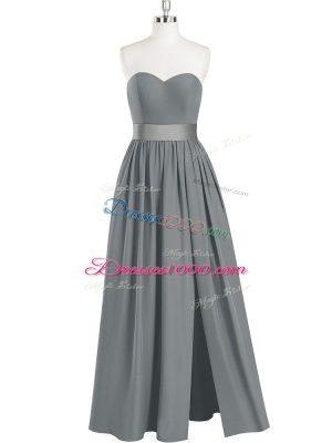 High Class Sleeveless Chiffon Floor Length Zipper Prom Dresses in Grey with Belt