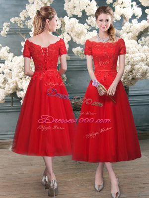 Elegant A-line Prom Party Dress Red Off The Shoulder Tulle Short Sleeves Tea Length Lace Up