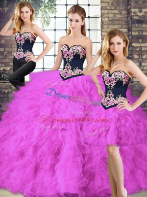 Elegant Fuchsia Lace Up Quinceanera Gowns Beading and Embroidery Sleeveless Floor Length