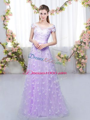 Modest Lavender Lace Up Off The Shoulder Appliques Court Dresses for Sweet 16 Tulle Cap Sleeves