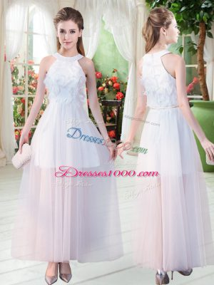 Excellent Sleeveless Tulle Ankle Length Zipper Evening Dress in White with Appliques