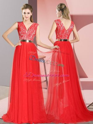 Extravagant Zipper Evening Dress Red for Prom and Party with Beading and Lace Sweep Train