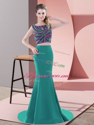 Luxury Sleeveless Beading Backless Prom Party Dress with Turquoise Sweep Train