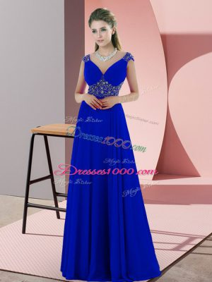 Blue Satin Backless V-neck Sleeveless Party Dress Wholesale Sweep Train Beading and Pick Ups