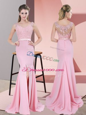 Custom Made Baby Pink Chiffon Zipper Prom Evening Gown Sleeveless Sweep Train Lace and Appliques