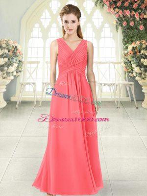 Edgy V-neck Sleeveless Zipper Prom Evening Gown Watermelon Red Chiffon