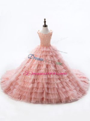Pink Kids Formal Wear Court Train Sleeveless Beading and Ruffled Layers