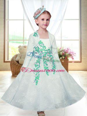 Wonderful Straps Sleeveless Zipper Toddler Flower Girl Dress White Lace