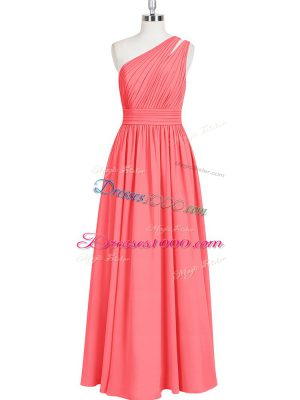 Chiffon One Shoulder Sleeveless Zipper Ruching Prom Dress in Red