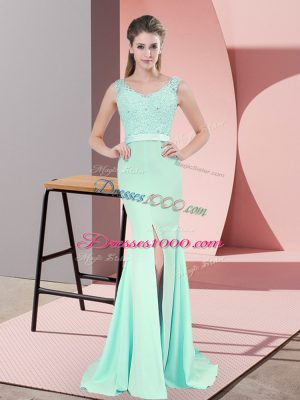 On Sale V-neck Sleeveless Prom Gown Sweep Train Beading and Lace and Appliques Apple Green Chiffon