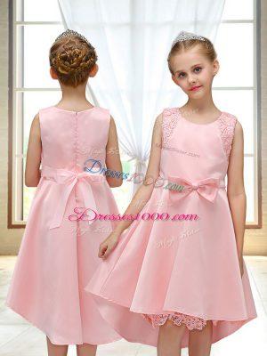Unique Scoop Sleeveless Zipper Flower Girl Dresses for Less Pink Satin
