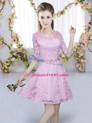 Cute Lilac Zipper V-neck Belt Wedding Party Dress Lace Short Sleeves