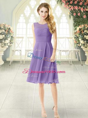 Most Popular Knee Length Lavender Prom Gown Chiffon Sleeveless Ruching
