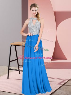 Designer Floor Length Blue Juniors Evening Dress Chiffon Sleeveless Beading