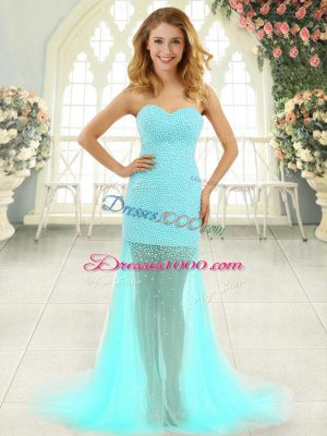 Sleeveless Tulle Brush Train Zipper Prom Gown in Aqua Blue with Beading