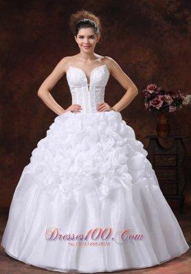 Deep Sweetheart Spaghetti Straps Ruffle Wedding Gown