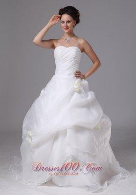 Ruch Bodice Pick-ups Hand Made Flowers Wedding Dress