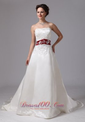 Extravagant Wine Red church wedding Dress Fall Train