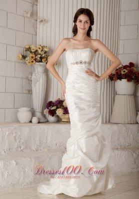 Mermaid Beading Brush Train Strapless Bridal Gown