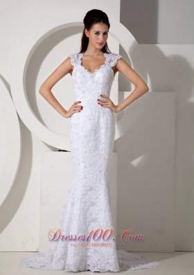 Mermaid V-neck Lace Wedding Dress with Brush Train