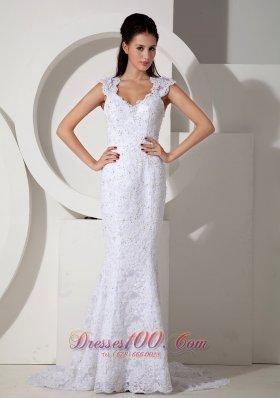 Mermaid V-neck Lace Wedding Dress with Brush Train