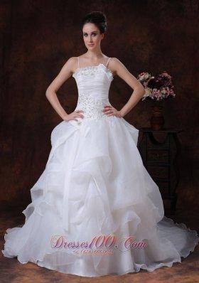 Spaghetti Organza Pick-ups Bodice Bridal Gown Summer