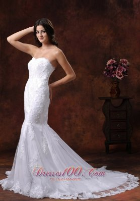 Spring Lace Mermaid Brush Train Sweetheart Bridal Gown