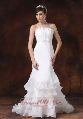 Custmized Mermaid Layered Ruffle Bodice Wedding Gown